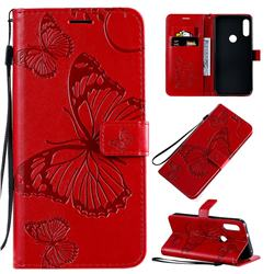 Embossing 3D Butterfly Leather Wallet Case for Motorola Moto E7 - Red