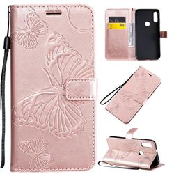 Embossing 3D Butterfly Leather Wallet Case for Motorola Moto E7 - Rose Gold