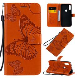 Embossing 3D Butterfly Leather Wallet Case for Motorola Moto E7 - Orange