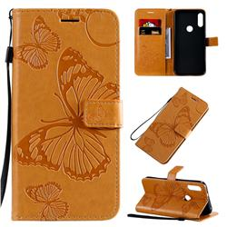 Embossing 3D Butterfly Leather Wallet Case for Motorola Moto E7 - Yellow
