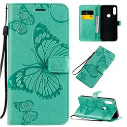 Embossing 3D Butterfly Leather Wallet Case for Motorola Moto E7 - Green