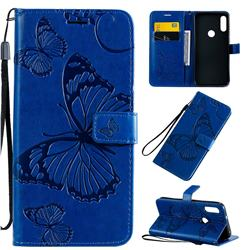 Embossing 3D Butterfly Leather Wallet Case for Motorola Moto E7 - Blue