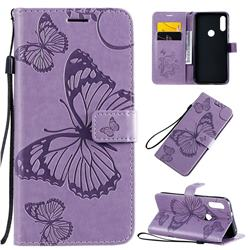 Embossing 3D Butterfly Leather Wallet Case for Motorola Moto E7 - Purple