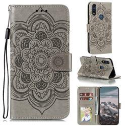 Intricate Embossing Datura Solar Leather Wallet Case for Motorola Moto E7(Moto E 2020) - Gray