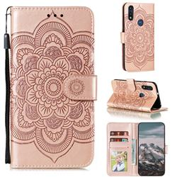 Intricate Embossing Datura Solar Leather Wallet Case for Motorola Moto E7(Moto E 2020) - Rose Gold
