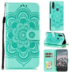 Intricate Embossing Datura Solar Leather Wallet Case for Motorola Moto E7(Moto E 2020) - Green