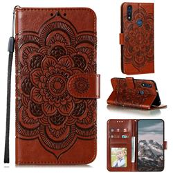 Intricate Embossing Datura Solar Leather Wallet Case for Motorola Moto E7(Moto E 2020) - Brown