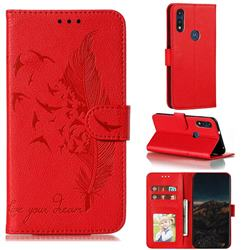 Intricate Embossing Lychee Feather Bird Leather Wallet Case for Motorola Moto E7(Moto E 2020) - Red