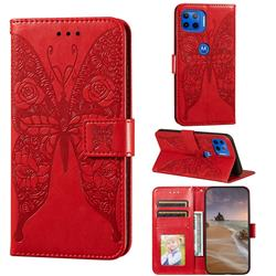 Intricate Embossing Rose Flower Butterfly Leather Wallet Case for Motorola Moto E7(Moto E 2020) - Red