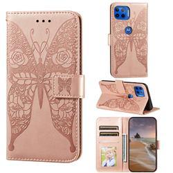 Intricate Embossing Rose Flower Butterfly Leather Wallet Case for Motorola Moto E7(Moto E 2020) - Rose Gold
