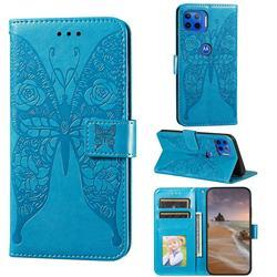 Intricate Embossing Rose Flower Butterfly Leather Wallet Case for Motorola Moto E7(Moto E 2020) - Blue