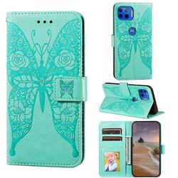 Intricate Embossing Rose Flower Butterfly Leather Wallet Case for Motorola Moto E7(Moto E 2020) - Green