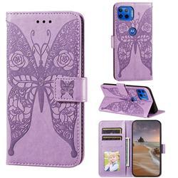 Intricate Embossing Rose Flower Butterfly Leather Wallet Case for Motorola Moto E7(Moto E 2020) - Purple