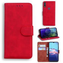 Retro Classic Skin Feel Leather Wallet Phone Case for Motorola Moto E7(Moto E 2020) - Red
