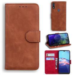 Retro Classic Skin Feel Leather Wallet Phone Case for Motorola Moto E7(Moto E 2020) - Brown