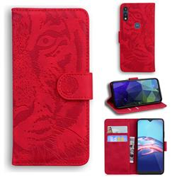 Intricate Embossing Tiger Face Leather Wallet Case for Motorola Moto E7(Moto E 2020) - Red