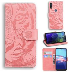 Intricate Embossing Tiger Face Leather Wallet Case for Motorola Moto E7(Moto E 2020) - Pink