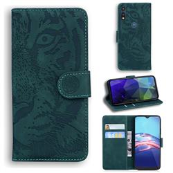 Intricate Embossing Tiger Face Leather Wallet Case for Motorola Moto E7(Moto E 2020) - Green