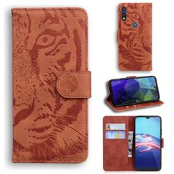 Intricate Embossing Tiger Face Leather Wallet Case for Motorola Moto E7(Moto E 2020) - Brown