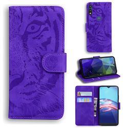 Intricate Embossing Tiger Face Leather Wallet Case for Motorola Moto E7(Moto E 2020) - Purple