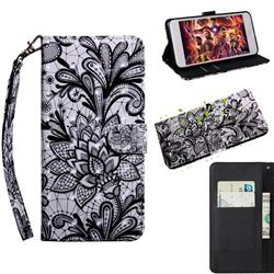 Black Lace Rose 3D Painted Leather Wallet Case for Motorola Moto E7(Moto E 2020)