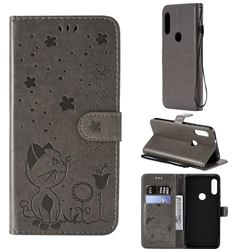 Embossing Bee and Cat Leather Wallet Case for Motorola Moto E7(Moto E 2020) - Gray