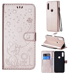 Embossing Bee and Cat Leather Wallet Case for Motorola Moto E7(Moto E 2020) - Rose Gold