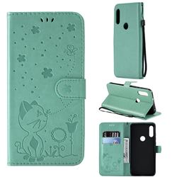 Embossing Bee and Cat Leather Wallet Case for Motorola Moto E7(Moto E 2020) - Green