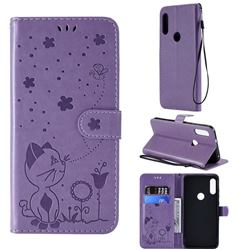 Embossing Bee and Cat Leather Wallet Case for Motorola Moto E7(Moto E 2020) - Purple