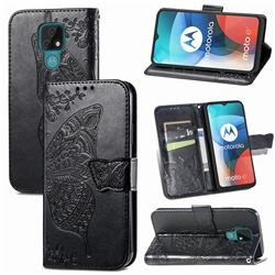 Embossing Mandala Flower Butterfly Leather Wallet Case for Motorola Moto E7(Moto E 2020) - Black
