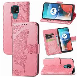 Embossing Mandala Flower Butterfly Leather Wallet Case for Motorola Moto E7(Moto E 2020) - Pink