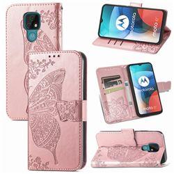Embossing Mandala Flower Butterfly Leather Wallet Case for Motorola Moto E7(Moto E 2020) - Rose Gold