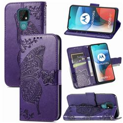 Embossing Mandala Flower Butterfly Leather Wallet Case for Motorola Moto E7(Moto E 2020) - Dark Purple