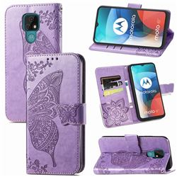 Embossing Mandala Flower Butterfly Leather Wallet Case for Motorola Moto E7(Moto E 2020) - Light Purple