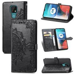 Embossing Imprint Mandala Flower Leather Wallet Case for Motorola Moto E7(Moto E 2020) - Black