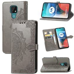 Embossing Imprint Mandala Flower Leather Wallet Case for Motorola Moto E7(Moto E 2020) - Gray