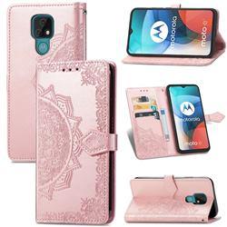 Embossing Imprint Mandala Flower Leather Wallet Case for Motorola Moto E7(Moto E 2020) - Rose Gold