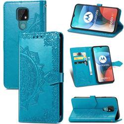 Embossing Imprint Mandala Flower Leather Wallet Case for Motorola Moto E7(Moto E 2020) - Blue