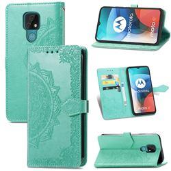 Embossing Imprint Mandala Flower Leather Wallet Case for Motorola Moto E7(Moto E 2020) - Green