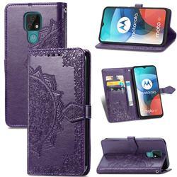 Embossing Imprint Mandala Flower Leather Wallet Case for Motorola Moto E7(Moto E 2020) - Purple