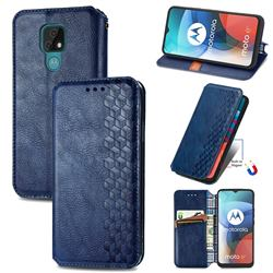 Ultra Slim Fashion Business Card Magnetic Automatic Suction Leather Flip Cover for Motorola Moto E7(Moto E 2020) - Dark Blue