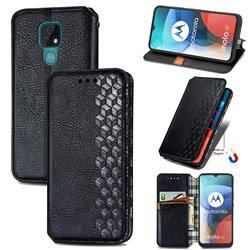 Ultra Slim Fashion Business Card Magnetic Automatic Suction Leather Flip Cover for Motorola Moto E7(Moto E 2020) - Black