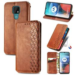 Ultra Slim Fashion Business Card Magnetic Automatic Suction Leather Flip Cover for Motorola Moto E7(Moto E 2020) - Brown