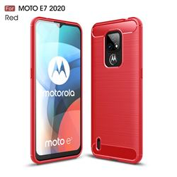 Luxury Carbon Fiber Brushed Wire Drawing Silicone TPU Back Cover for Motorola Moto E7(Moto E 2020) - Red