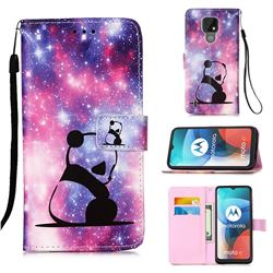 Panda Baby Matte Leather Wallet Phone Case for Motorola Moto E7(Moto E 2020)