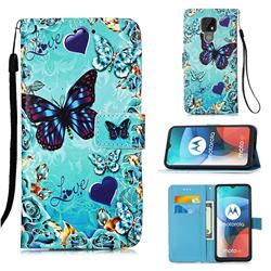 Love Butterfly Matte Leather Wallet Phone Case for Motorola Moto E7(Moto E 2020)
