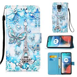 Tower Butterfly Matte Leather Wallet Phone Case for Motorola Moto E7(Moto E 2020)