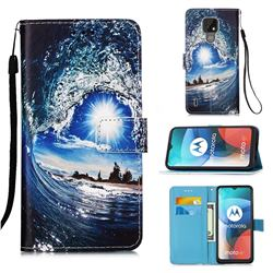 Waves and Sun Matte Leather Wallet Phone Case for Motorola Moto E7(Moto E 2020)
