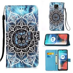 Underwater Mandala Matte Leather Wallet Phone Case for Motorola Moto E7(Moto E 2020)