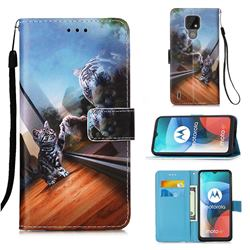 Mirror Cat Matte Leather Wallet Phone Case for Motorola Moto E7(Moto E 2020)